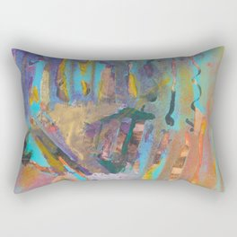 Abstract Landscape Colorful Mixed Media Painting by Garden Of Delights Rectangular Pillow