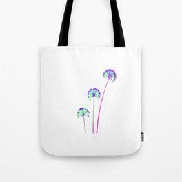 three flowers 3 . blue Tote Bag