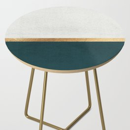 Deep Green, Gold and White Color Block Side Table
