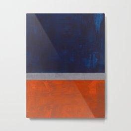 Minimalist Mid Century Rothko Color Field Navy Blue Dark Orange Grey Accent Square Color Block Metal Print