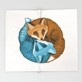 Foxes Yin Yang Throw Blanket