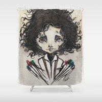 edward scissorhands Shower Curtains featuring Edward Scissorhands by Estrela de Papel