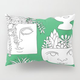 Illustrated Plant Faces in Kelly Green Pillow Sham