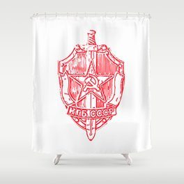KGB Badge Outline Drawing Shower Curtain