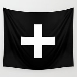 Plus Sign (White & Black) Wall Tapestry