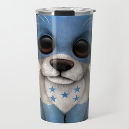 Cute Puppy Dog with flag of Honduras Travel Mug