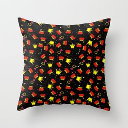 Red Crowns Pattern Rings Pattern Night Sky Stars Sky interior design Cartoon Pattern Crown Clipart Throw Pillow