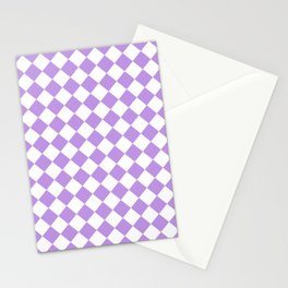 Diamonds - White and Light Violet Stationery Cards