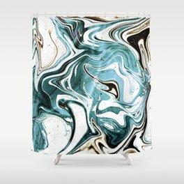 Liquid Teal Marble Shower Curtain