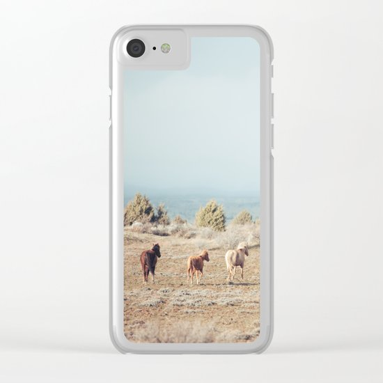 Oregon Wilderness Horses Clear iPhone Case