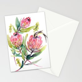 King Protea and Bird Watercolor Illustration Botanical Design Stationery Cards