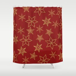 Snowflakes Red And Gold Shower Curtain
