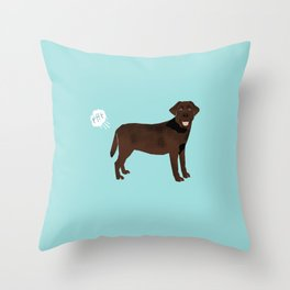 Chocolate Lab funny fart dog breed gifts labrador retrievers Throw Pillow