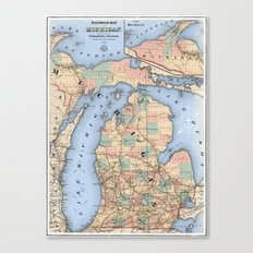 Michigan Railroad Map Canvas Print