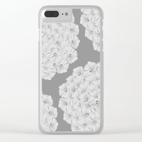 Flowerpower - Flower Balls On A Grey Background - #society6 Clear iPhone Case
