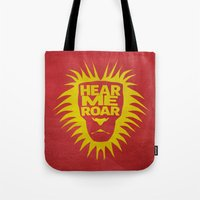 lannister Tote Bags featuring House Lannister - Hear Me Roar by Jack Howse