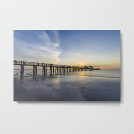 Sunset over Naples Pier in Florida from the beach Metal Print