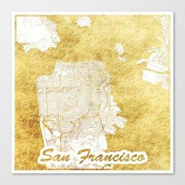 San Francisco Map Gold Canvas Print