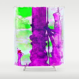 Venezia Navy Marine hoist a flag - SKETCH-ART Shower Curtain