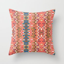 Coral Watercolor Collage Throw Pillow