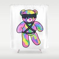 bondage Shower Curtains featuring Rainbow Bondage Bear by clevernessofyou