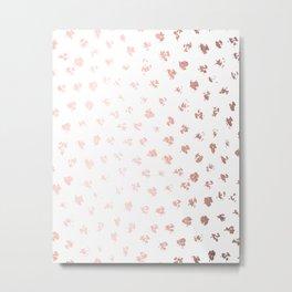 Rose Gold Pink Polka Splotch Dots on White Metal Print