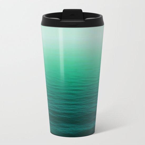 Deep Aqua Waves Metal Travel Mug