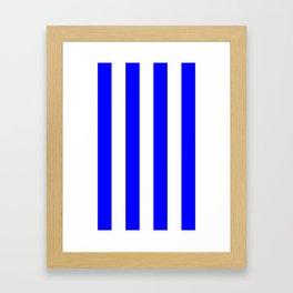 Vertical Stripes - White and Blue Framed Art Print