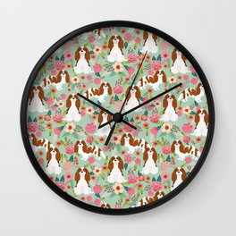 Blenheim Cavalier King Charles Spaniel dog breed florals pattern Wall Clock