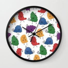 Doodle Birds Pattern Wall Clock