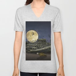 Moon and Wooden Shipwreck with Gulls Unisex V-Neck