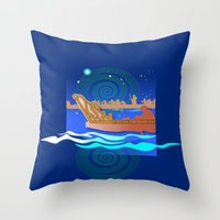 maori Throw Pillows featuring Maori Canoes : Waka by Patricia Howitt