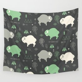 Seamless pattern with cute baby buffaloes and native American symbols, dark gray Wall Tapestry