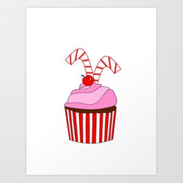 Cupcakes And Candy Canes Art Print