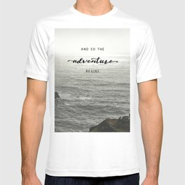 And So The Adventure Begins - Ocean Emotion Black and White T-shirt