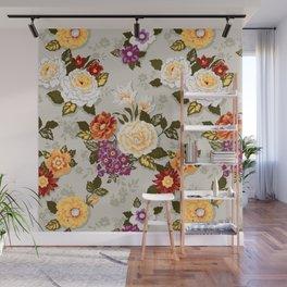 flowerily -grey Wall Mural