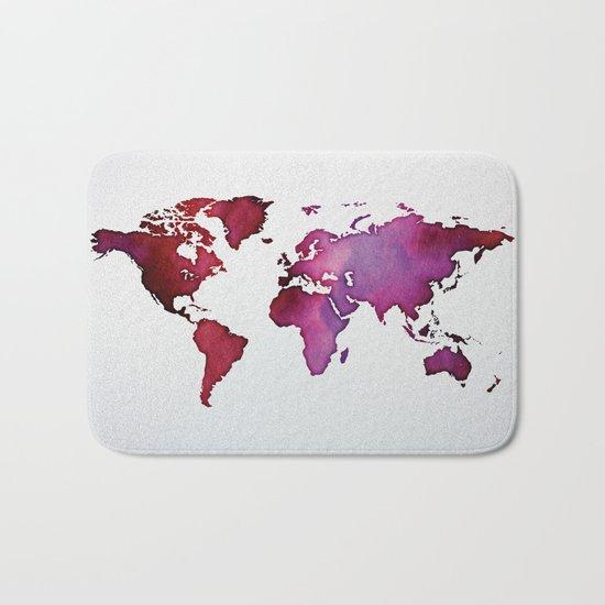 Red & Pink World Map Bath Mat