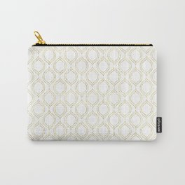 White And Gold Moroccan Chic Pattern Carry-All Pouch
