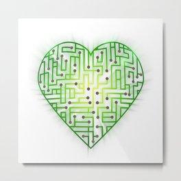 TechHeart (Green) Metal Print