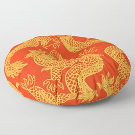 Red and Gold Battling Dragons Floor Pillow