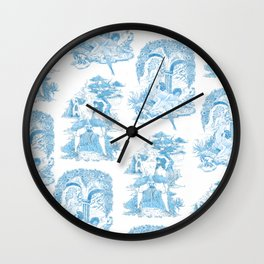 Blue Bawdy Toile Wall Clock