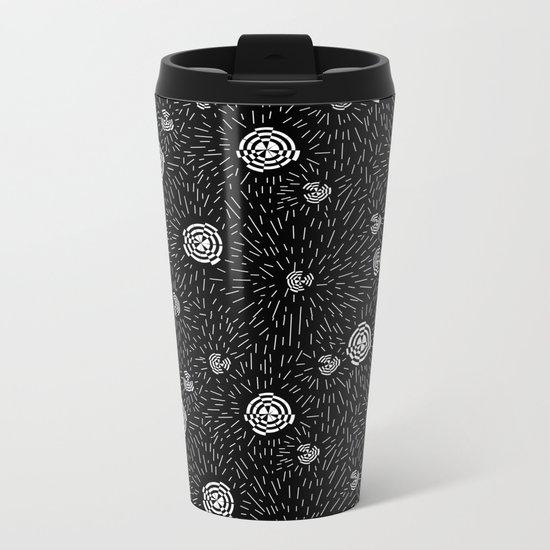 Black and white minimal linocut abstract pattern graphic scandi design Metal Travel Mug