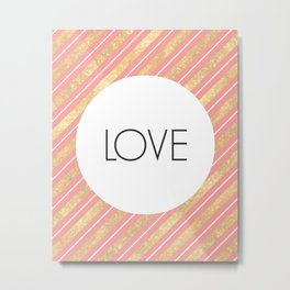 One Word - Love - Pink and Gold Metal Print