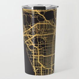 LOS ANGELES CALIFORNIA GOLD ON BLACK CITY MAP Travel Mug