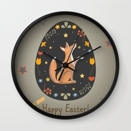 Festive Easter Egg with Cute Character of Fox Wall Clock