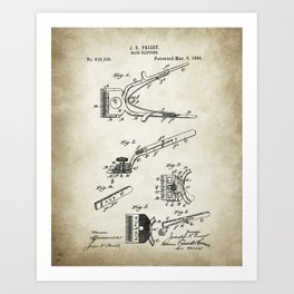 Hair Clipper Patent Drawing Art Print