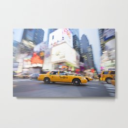 Yellow taxi cab in times square Metal Print