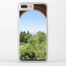 Beautiful carved ancient window of Alhambra, Spain Clear iPhone Case