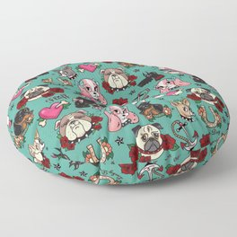 Tattoo Dogs Floor Pillow