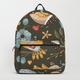 Hand drawn dreaming birds flowers vector elements scandinavian folk art seamless pattern No 01 Backpack